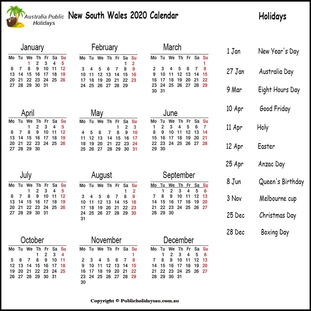 Public Holidays NSW 2020
