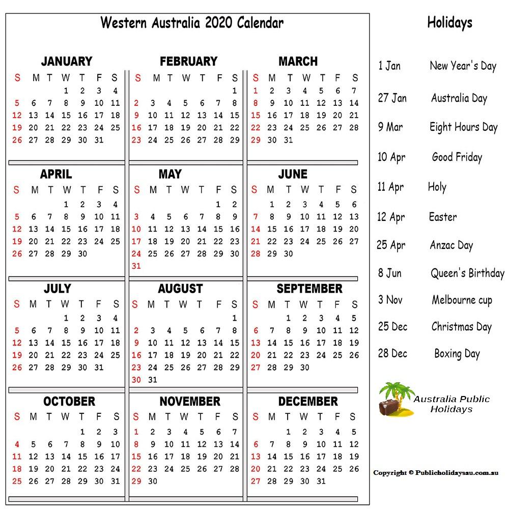 WA Holidays 2020