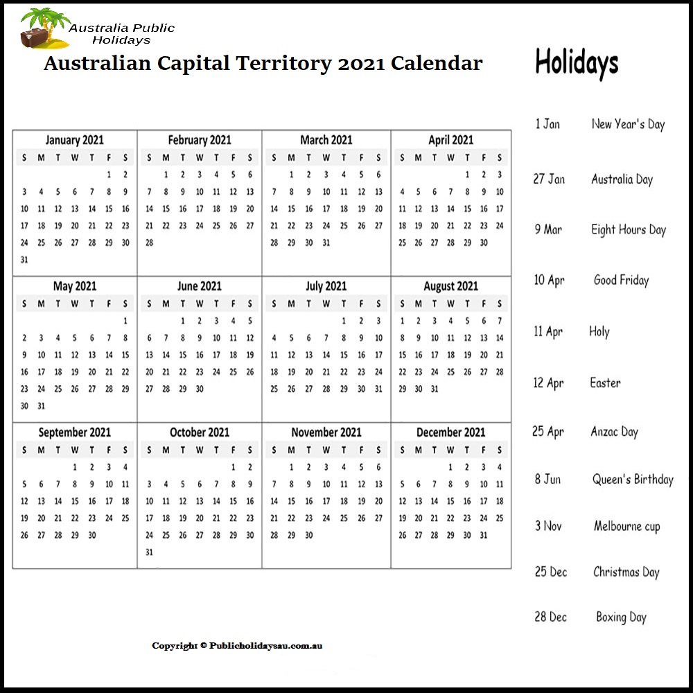 ACT Holidays 2021