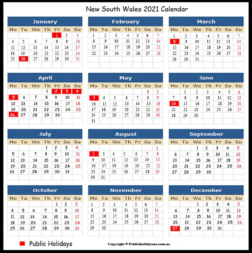 Public Holidays NSW 2021