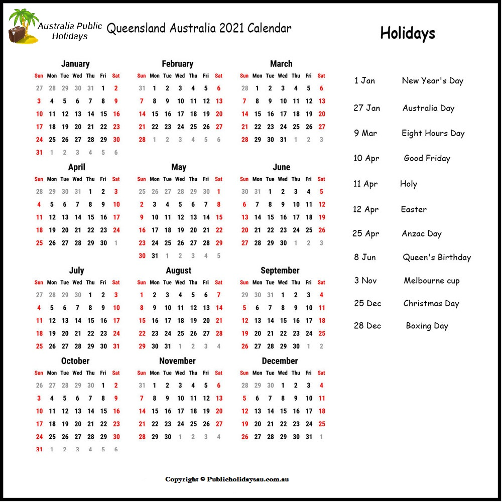 QLD Public Holidays 2021