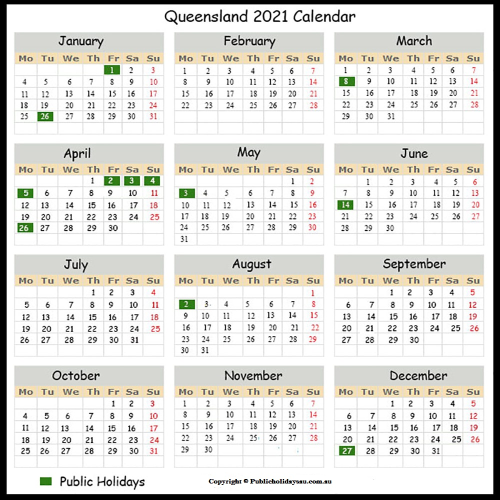 Holidays 2021 QLD