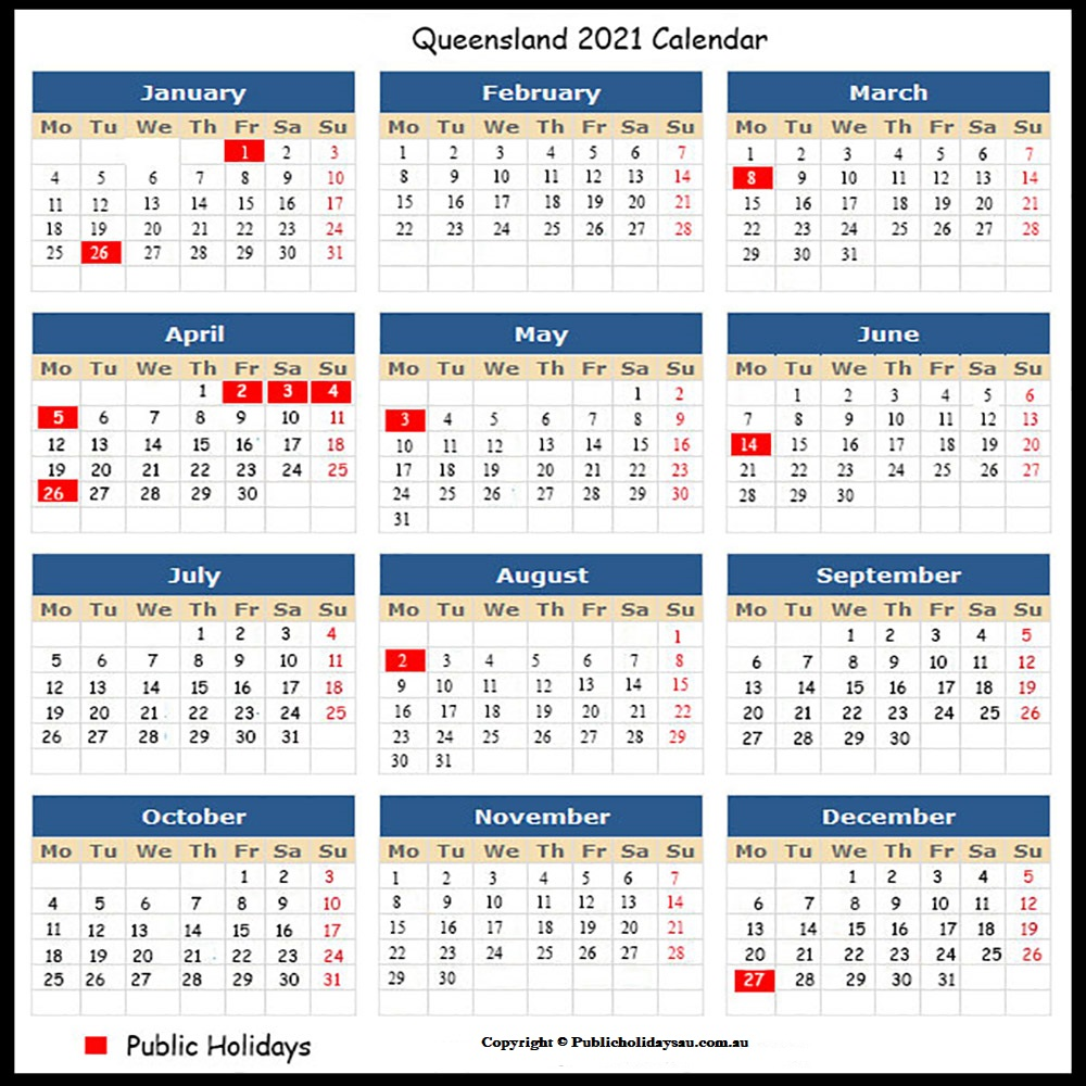 Public Holidays QLD 2021