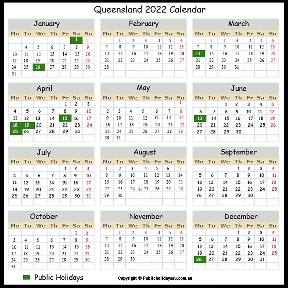 2022 Public Holidays Qld